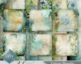 CU Commercial Use Background Papers set of 6 for Digital Scrapbooking or Craft projects COTTAGE MEMOIRS Art Papers, Designer Stock Papers