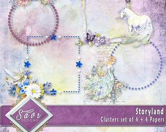 Digital Scrapbooking Clusters set of 4 plus 4 BG papers STORYLAND premade embellishment png clusters to make immediate scrap page
