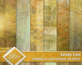 CU Commercial Use Background Papers set of 6 for Digital Scrapbooking or Craft projects AUTUMN SCENE Designer Stock Papers