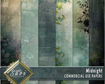 CU Commercial Use Background Papers set of 6 for Digital Scrapbooking or Craft projects MIDNIGHT Papers, Designer Stock Papers