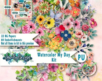 Digital Scrapbooking Kit WATERCOLOUR MY DAY lots of flowers, masks, stamped items, leaves watercoloured embellishments and papers