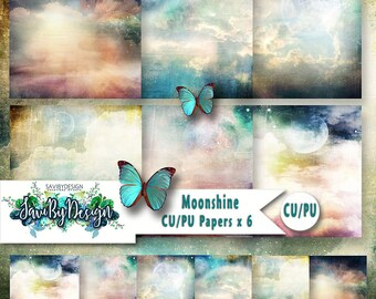 CU Commercial Use Background Papers set of 6 for Digital Scrapbooking or Craft projects MOONSHINE, Designer Stock Papers