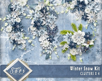 Digital Scrapbooking Clusters set of 4 WINTER SNOW premade embellishment png clusters to make immediate scrap page