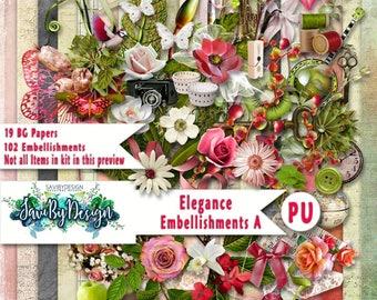 SALe Digital Scrapbooking Kit, ELEGANCE lots of lovely flowers, masks, stamped items, leaves