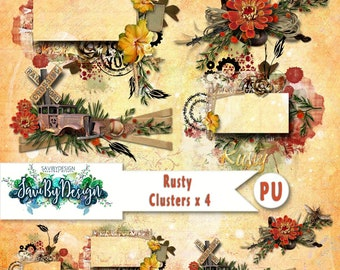 Digital Scrapbooking Clusters set of 4 - RUSTY premade embellishment png clusters to make immediate scrap page