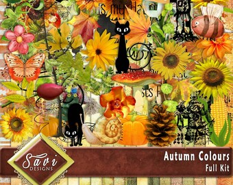 Digital Scrapbooking Kit, AUTUMN COLOURS, fall, flowers, pumpkins autumn leaves, suitable for vintage and modern Scrap Pages