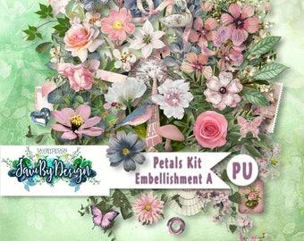 Digital Scrapbooking Kit, PETALS, gorgeous feminine, florals and vines, suitable for vintage and modern Scrap Pages