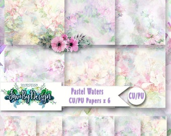 CU Commercial Use Background Papers set of 6 for Digital Scrapbooking or Craft projects PASTEL WATERS Papers, Designer Stock Papers