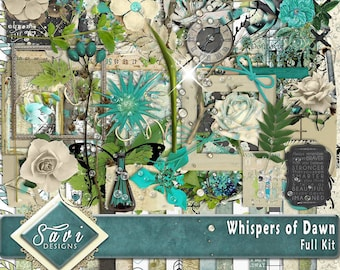 Digital Scrapbooking Kit, WHISPERS OF DAWN lots of lovely flowers, masks, stamped items, leaves Bonus Papers included