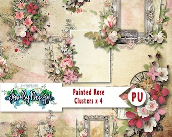 Digital Scrapbooking Clusters set of 4 PAINTED ROSE premade embellishment png clusters to make immediate scrap page