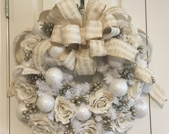 Winter Rose Garden Wreath