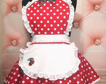 Rockabilly Red Polka Dot Cherry Large Diner Apron Cute Handmade XL Retro Cotton Fun