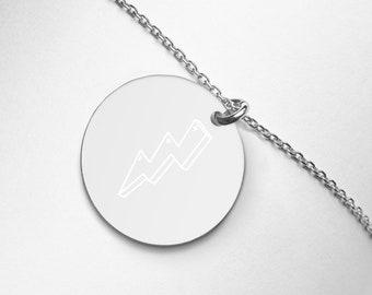 Ornateunicorn Lightening Bolt Engraved Silver Disc Necklace