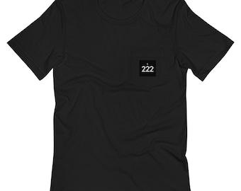 Ornateunicorn Angel Number 222 Crescent Moon Unisex Pocket T-Shirt