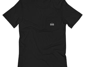 Ornateunicorn Angel Number 555 Crescent Moon Unisex Pocket T-Shirt