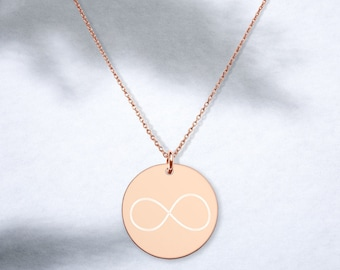 Ornateunicorn Infinity Engraved Disc Necklace in Rose Gold, Gold, or Silver Coating