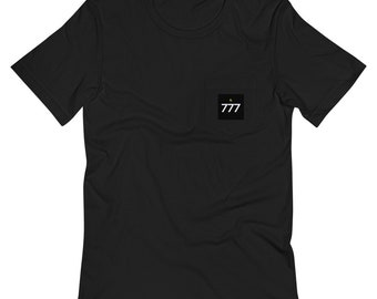 Ornateunicorn Angel Number 777 Crescent Moon Unisex Pocket T-Shirt