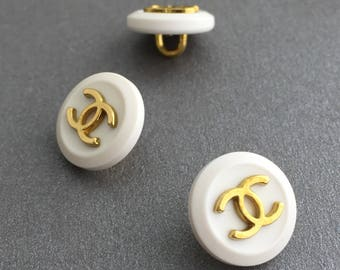 authentic CHANEL white & gold cc button 1.3cm