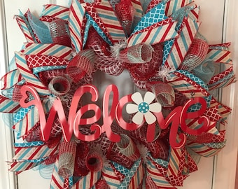 Everyday turquoise and red mesh wreath