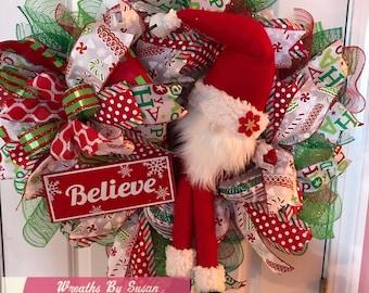 Santa Gnome Christmas wreath