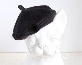 Black Petit Beret - Pet Petite Beret Hat, Cat Beret Hat, Dog Beret Hat, Pet Photo Prop, Birthday Holiday Hat Gift