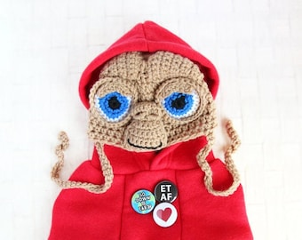 ET Look Outfit Set - Hand Knitted E.T. Hat, Red Hoodie, Dog ET Costume, Cat ET Costume, E.T. Hoodie, E.T. Hat, Birthday Holiday Photo Gift
