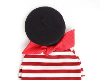 French Look Outfit Set II - Pet Beret Hat, Red Scarf, Red White Striped T-shirt, Cat Beret Hat Set, Dog Beret Hat Set, Birthday Photo Gift