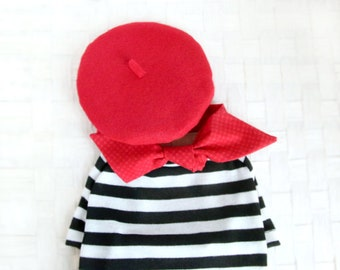 17b347e5a French Look Outfit Set - Pet Beret Hat Set, Petite Red Scarf, Black White  Striped T-shirt, Cat Beret Hat Set, Dog Beret Hat Set, Photo Prop