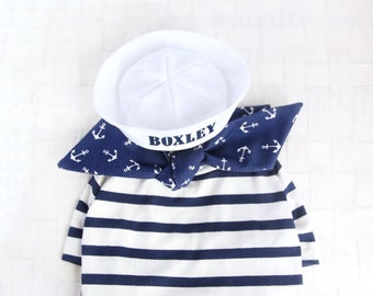 Sailor Look Outfit Set - Custom Pet Sailor Hat Set, Anchor Scarf, Navy Striped T-shirt, Cat Sailor Hat, Dog Sailor Hat,Birthday Holiday Gift