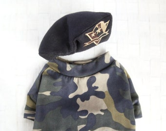 Military Look Outfit Set - Pet Military Army Beret Hat Set, Camouflage T-shirt, Cat Military Army Set, Dog Military Army Set, Birthday Gift