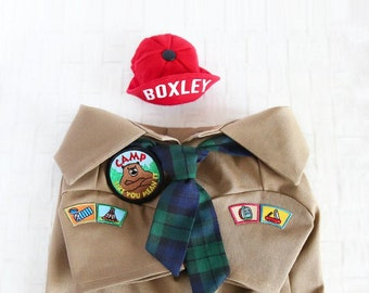 Adventure Look Outfit Set - Pet Camping Outfit, Tiny Red Cap, Plaid Tie Scarf, Khaki Safari Shirt, Dog & Cat Outfit, Birthday Holiday Gift