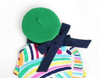Pop Artist Look Outfit Set - Pet Beret Hat, Navy Ribbon, Color Paint Brush T-shirt, Cat Artist Set, Dog Artist Set, Birthday Photo Gift