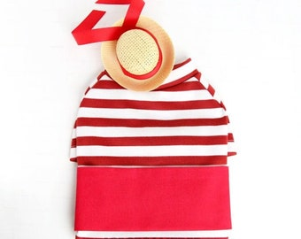 Gondolier Look Outfit Set - Pet Tiny Boater Hat, Red White Striped T-shirt, Red Waist Scarf, Cat Dog Gondola Driver Outfit Set, Photo Gift