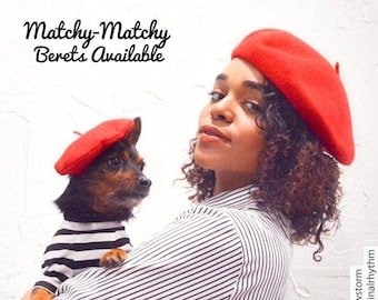 Dog Cat Mom and Me Beret Hats - Pet Owner and Me Matching Beret Sets, Matching Beret Hats, Fur Mom, Dog Cat Mother's Day Gift