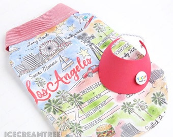 LA Vacay Look Outfit Set - Pet Visor Hat, Los Angeles Tourist Attraction Vacation Shirt, Cat Dog Visor, California Summer Fun Photo Gift