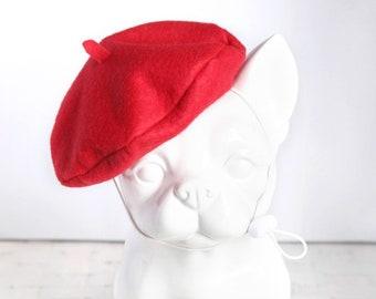 Red Petit Beret - Pet Petite Beret Hat, Cat Beret Hat, Dog Beret Hat, Pet Photo Prop, Birthday Holiday Hat Gift