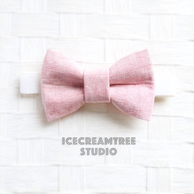 d940725199eb Light Pink Summer Linen BowTie Bow Tie Elastic Pet Collar | Etsy