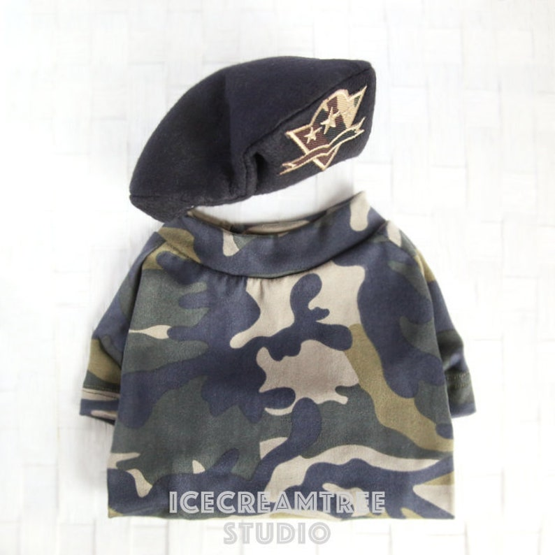 c34a53244284d Military Look Outfit Set Pet Military Army Beret Hat Set