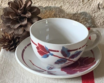 Coffee cup Moulin des loups model Nice,coffe service,cup,digoin flower,faience, flower decoration, wolf mill cups,nice style,