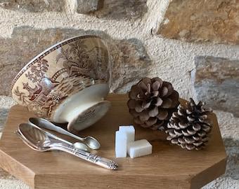 Bol ancien sarreguemines au décor japonisant ,old bowl,french bowl,digoin,rouge,campagne chic,cup,grandmother's bowl,french bowl,bol ancien,