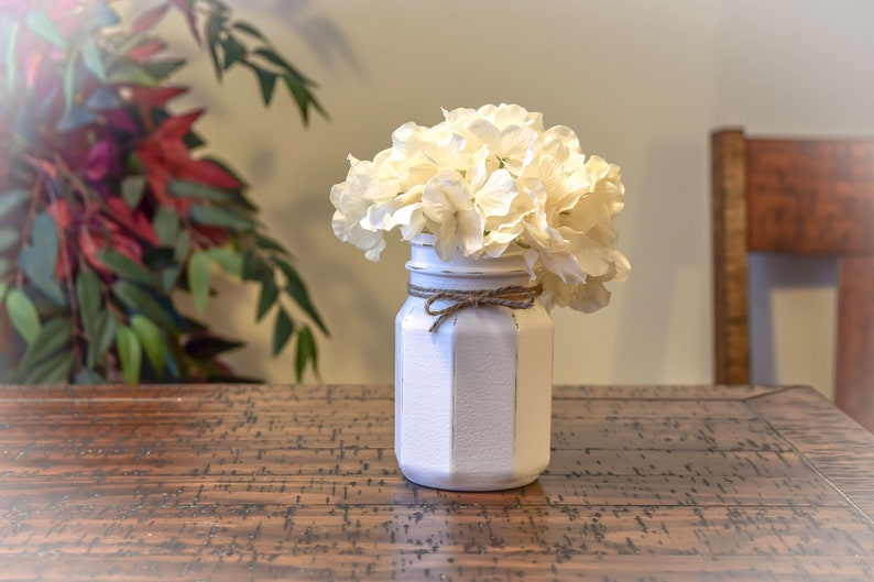 Farmhouse Distressed Rustic Mason Jar With Hydrangea Home