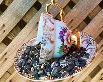 Gold Floral Teacup Bird Feeder with Gold Manitoba Souvenir Spoon, tea cup bird feeder, bird feeder, garden decor, spoon art, garden ornament