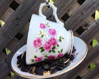 Crown Trent Pink Floral Teacup Bird Feeder, tea cup bird feeder, crown trent, bird feeder, garden decor, garden ornament, tree ornament