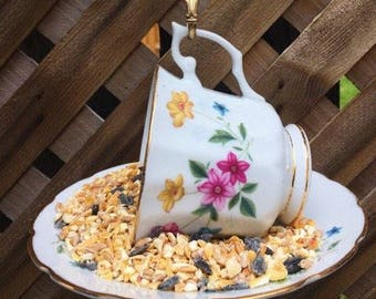 Floral Bone China Teacup Bird Feeder with Alberta Souvenir Spoon, tea cup bird feeder, garden decor, garden ornament, bird feeder, teacup