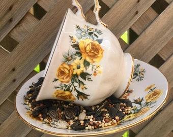 Royal Vale 8582 Teacup Bird Feeder with Goderich Souvenir Spoon, teacup bird feeder, tea cup bird feeder, bird feeder, garden decor, teacup