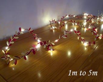 Burgundy & Gold Leaf LED Garland - Fairy Lights / String Lights - Battery Operated - Indoor Bedroom Wedding Decorations 2m / 3m / 4m / 5m