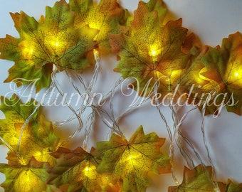 Green Leaves Fairy Lights String Lights Battery Operated - LED Garland -  Leaf Wedding / Bedroom Decoration - Choose 1m 2m 3m 4m 5m 10m