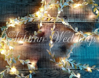 White & Gold Leaf LED Garland - Fairy Lights / String Lights - Battery Operated - Indoor Bedroom Wedding Decorations - Wedding Lights