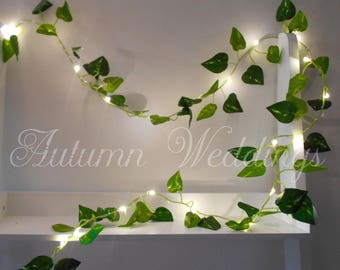 Ivy Leaf Fairy Lights 2m 4m Wedding Decorations String Lights Lit Garland LED Battery Operated Indoor Leaves Bedroom Wedding Decor Weddings