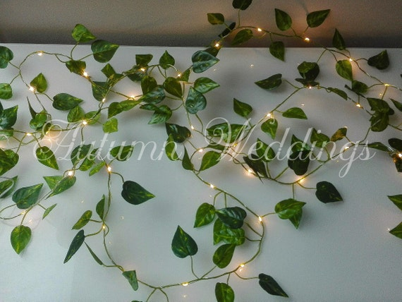 the latest 842cd 8ff0a Ivy Leaf Fairy Lights 2m 4m Wedding Decorations String Lights Lit Garland  LED Battery Operated Indoor Leaves Bedroom Wedding Decor Weddings